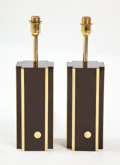 Willy Rizzo Pair of deep brown laminate table lamps w brass accents France 1970s - 1740038