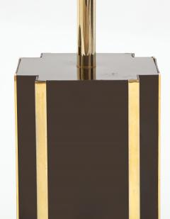 Willy Rizzo Pair of deep brown laminate table lamps w brass accents France 1970s - 1740039