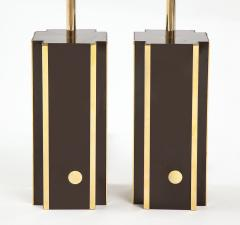 Willy Rizzo Pair of deep brown laminate table lamps w brass accents France 1970s - 1740041
