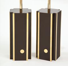 Willy Rizzo Pair of deep brown laminate table lamps w brass accents France 1970s - 1740042