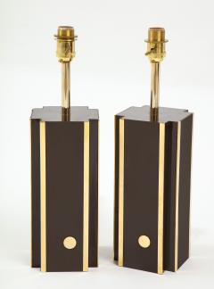Willy Rizzo Pair of deep brown laminate table lamps w brass accents France 1970s - 1740043