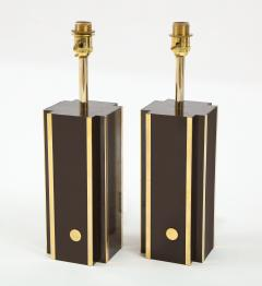 Willy Rizzo Pair of deep brown laminate table lamps w brass accents France 1970s - 1740044