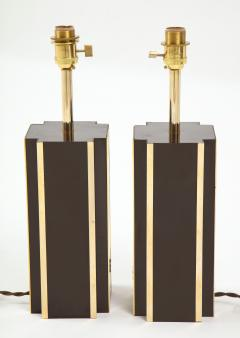 Willy Rizzo Pair of deep brown laminate table lamps w brass accents France 1970s - 1740045
