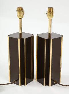 Willy Rizzo Pair of deep brown laminate table lamps w brass accents France 1970s - 1740046
