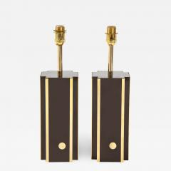 Willy Rizzo Pair of deep brown laminate table lamps w brass accents France 1970s - 1741228