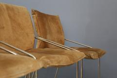 Willy Rizzo Set of four chairs by Willy Rizzo in Brass and Chamois Beige from the 1970s - 1127071