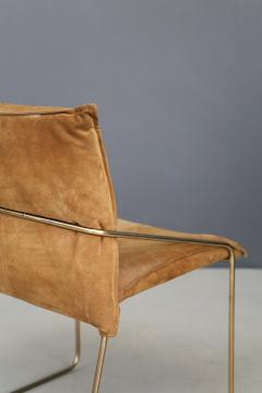Willy Rizzo Set of four chairs by Willy Rizzo in Brass and Chamois Beige from the 1970s - 1127073