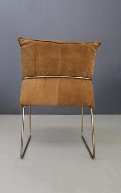 Willy Rizzo Set of four chairs by Willy Rizzo in Brass and Chamois Beige from the 1970s - 1127074