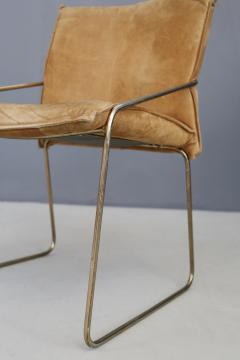 Willy Rizzo Set of four chairs by Willy Rizzo in Brass and Chamois Beige from the 1970s - 1127075