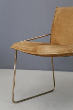 Willy Rizzo Set of four chairs by Willy Rizzo in Brass and Chamois Beige from the 1970s - 1127076