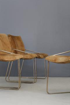 Willy Rizzo Set of four chairs by Willy Rizzo in Brass and Chamois Beige from the 1970s - 1127077