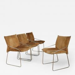 Willy Rizzo Set of four chairs by Willy Rizzo in Brass and Chamois Beige from the 1970s - 1128927