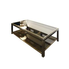 Willy Rizzo Willy Rizzo 2 Tier Coffee Table in Gunmetal and Brass 1960s - 786170