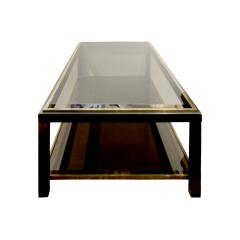 Willy Rizzo Willy Rizzo 2 Tier Coffee Table in Gunmetal and Brass 1960s - 786172