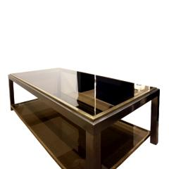 Willy Rizzo Willy Rizzo 2 Tier Coffee Table in Gunmetal and Brass 1960s - 786174