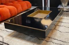 Willy Rizzo Willy Rizzo Alveo Rectangular Black Wood Chrome Italian Coffee Table 1970s - 1214406