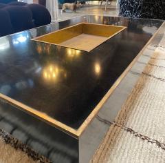 Willy Rizzo Willy Rizzo Alveo Rectangular Black Wood Chrome Italian Coffee Table 1970s - 1214408