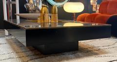 Willy Rizzo Willy Rizzo Alveo Rectangular Black Wood Chrome Italian Coffee Table 1970s - 1214409