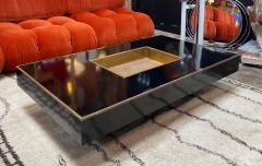 Willy Rizzo Willy Rizzo Alveo Rectangular Black Wood Chrome Italian Coffee Table 1970s - 1214410
