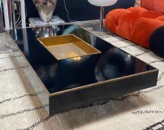 Willy Rizzo Willy Rizzo Alveo Rectangular Black Wood Chrome Italian Coffee Table 1970s - 1214413