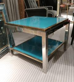 Willy Rizzo Willy Rizzo Brass chromed and glass coffee table Italy 70 - 1051390