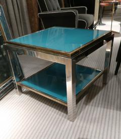 Willy Rizzo Willy Rizzo Brass chromed and glass coffee table Italy 70 - 1051391