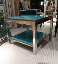 Willy Rizzo Willy Rizzo Brass chromed and glass coffee table Italy 70 - 1051392
