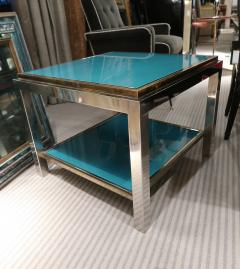 Willy Rizzo Willy Rizzo Brass chromed and glass coffee table Italy 70 - 1051393