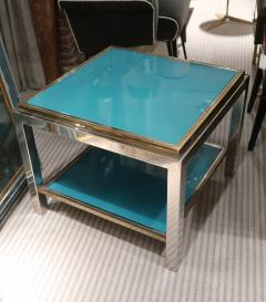 Willy Rizzo Willy Rizzo Brass chromed and glass coffee table Italy 70 - 1051394