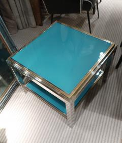 Willy Rizzo Willy Rizzo Brass chromed and glass coffee table Italy 70 - 1051395