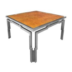 Willy Rizzo Willy Rizzo Dining Table in Chrome and Burl Wood 1970s - 2066362