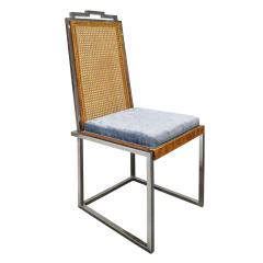 Willy Rizzo Willy Rizzo Set of 6 Dining Chairs in Chrome and Burl Wood 1970s - 2022049