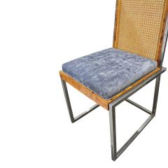 Willy Rizzo Willy Rizzo Set of 6 Dining Chairs in Chrome and Burl Wood 1970s - 2022050