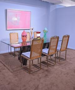 Willy Rizzo Willy Rizzo Set of 6 Dining Chairs in Chrome and Burl Wood 1970s - 2022053
