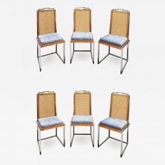Willy Rizzo Willy Rizzo Set of 6 Dining Chairs in Chrome and Burl Wood 1970s - 2022619