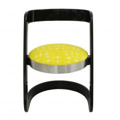 Willy Rizzo Willy Rizzo Set of Six Black Lacquered Wood and Yellow Velvet Italian Chairs - 1141650