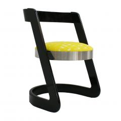 Willy Rizzo Willy Rizzo Set of Six Black Lacquered Wood and Yellow Velvet Italian Chairs - 1141652