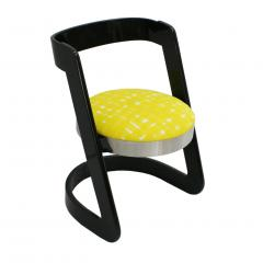 Willy Rizzo Willy Rizzo Set of Six Black Lacquered Wood and Yellow Velvet Italian Chairs - 1141653