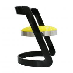 Willy Rizzo Willy Rizzo Set of Six Black Lacquered Wood and Yellow Velvet Italian Chairs - 1141658