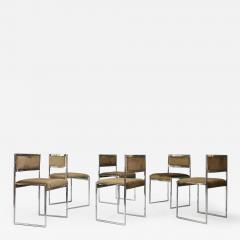Willy Rizzo Willy Rizzo Set of six MidCentury chair in brass and chamois 1960s - 1169977