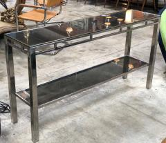 Willy Rizzo Willy Rizzo Signed Chrome with Double Shelved Console Table Italy 1970s - 1067080