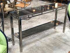 Willy Rizzo Willy Rizzo Signed Chrome with Double Shelved Console Table Italy 1970s - 1067081