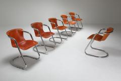 Willy Rizzo Willy Rizzo tan leather chairs for Cidue 1970s - 1450449