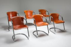 Willy Rizzo Willy Rizzo tan leather chairs for Cidue 1970s - 1450450