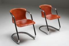 Willy Rizzo Willy Rizzo tan leather chairs for Cidue 1970s - 1450452