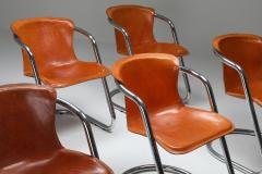 Willy Rizzo Willy Rizzo tan leather chairs for Cidue 1970s - 1450453