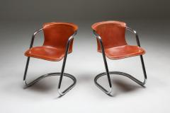 Willy Rizzo Willy Rizzo tan leather chairs for Cidue 1970s - 1450454
