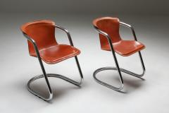 Willy Rizzo Willy Rizzo tan leather chairs for Cidue 1970s - 1450456