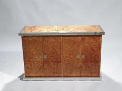 Willy Rizzo Willy rizzo burl chrome and brass small credenza 1970s - 990760