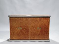 Willy Rizzo Willy rizzo burl chrome and brass small credenza 1970s - 990763